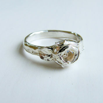 Art Nouveau White Sapphire Ring for a Rustic Forest Wedding