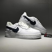 """""""Nike Air Force 1"""" Sport Casual Fashion Graffiti Leather Low Help Plate Shoes Men Thick Bottom Sneakers"""