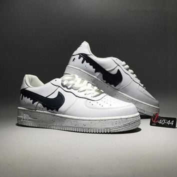 """Nike Air Force 1"" Sport Casual Fashion Graffiti Leather Low Help Plate Shoes Men Thick Bottom Sneakers"