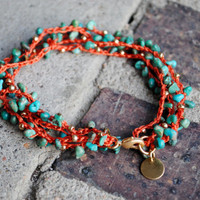 Beaded Crochet Anklet in Turquoise, Gold and Bright Coral
