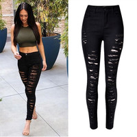Slim Elastic Ripped High Waist Straight Jeans