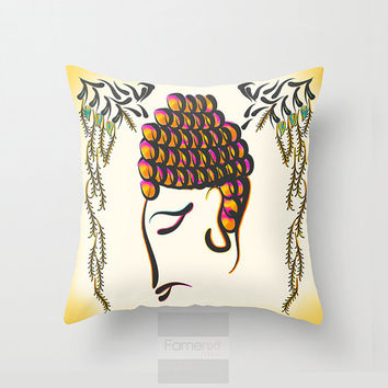 18x18 inches Decorative Throw Pillow. Vibrant colorful Buddha Cushion Cover. 18 inch. Double sided