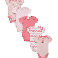 Starting Out Newborn-6 Months 5-Pack Owl Theme Bodysuits - Pink/White