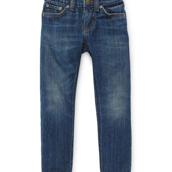 Faded Slim-Fit Denim Jeans, Selvedge, Size 2T-6X,