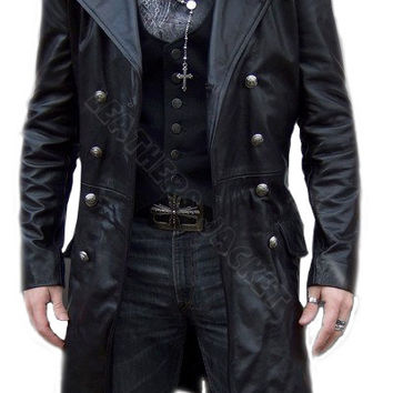 handmade men black  biker leather coat, men leather coat, men long leather coat, men antique buttons style coat