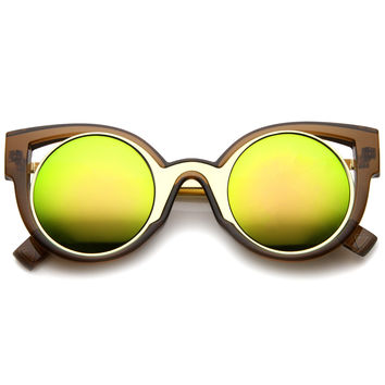 Colorful Festival Cat Eye Mirror Lens Sunglasses A246