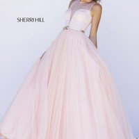 Sherri Hill 32170 Blush Sheer Keyhole Back Metallic Belt Jewel Neckline