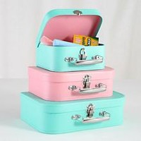 Kids Storage: Pink and Peach Storage Suitcases in Tabletop Storage   The Land of Nod