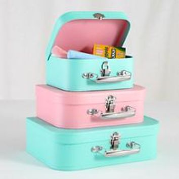 Kids Storage: Pink and Peach Storage Suitcases in Tabletop Storage | The Land of Nod