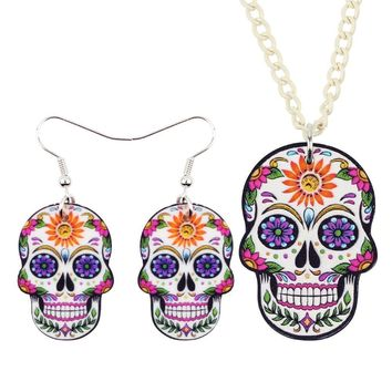 Floral Punk Skull Earrings Necklace Jewelry Sets For Women