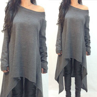 Fashion Womens Loose Long Sleeve A-line off shoulder Shirt Boho Casual Cotton Linen shirt Autumn Asymmetric Long plus size Dress