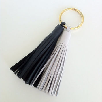 Leather Keychain Double Tassel - nautical preppy sailor navy and white leather