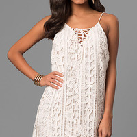 Short Embroidered-Lace Casual Party Shift Dress
