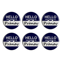 Pranav Hello My Name Is Plastic Resin Button Set of 6
