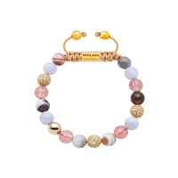 Women's Beaded Bracelet with Cherry Quartz, Blue Lace Agate, and Labradorite