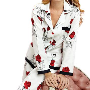 Pajamas - Red Glamour Rose Ribbon Sateen by Bedhead (Small, Large)