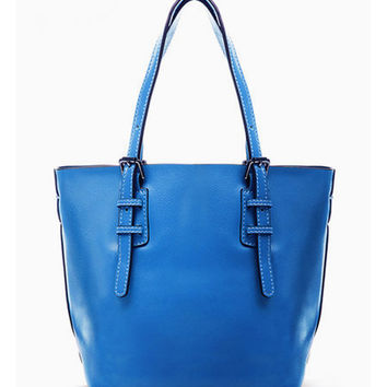 Sky Blue Leather Tote. Medium Shopper Bag. Diaper Bag. Leather Handbag MADE-TO-ORDER
