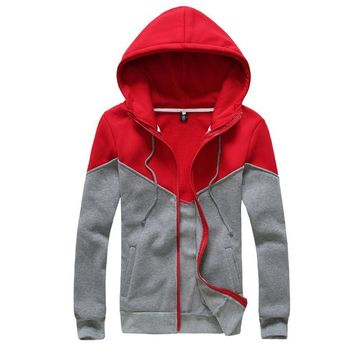 Korean Men Mosaic Couple Men's Fashion Casual Hats Hoodies Jacket [6528873795]