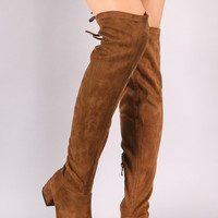 Wild Diva Lounge Back Lace-Tie Over-The-Knee Boots