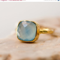 CLEARANCE - Blue Chalcedony Ring - Gemstone Ring - Gold Ring - Bezel Set Ring - Something Blue - Mother's Day Gift