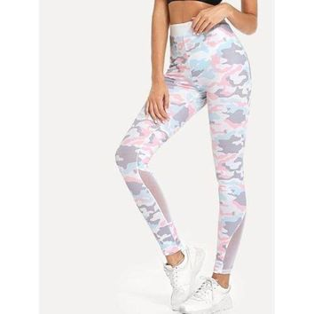 Sheer Mesh Panel Camo Leggings