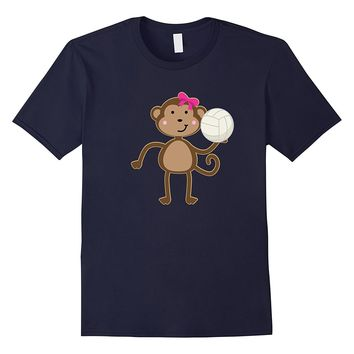 Volleyball T-shirt Cute Sports Ball Girl Monkey Team Gift