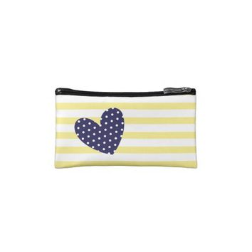Yellow & White Stripes + Navy Blue Polka Dot Heart Makeup Bag from Zazzle.com