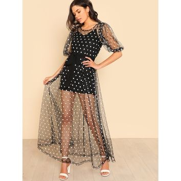 Polka Dot Tie Waist Sheer Mesh Dress Without Cami