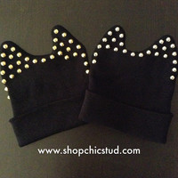 Studded Beanie - Studded Ear Detail - Black Hat - Gold or Silver Circular Studs