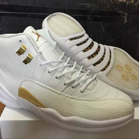 Men's Nike Air Jordan 12 Retro Ovo Drake White Gold