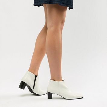 Vagabond Ebba White Leather Ankle Boot with Narrow Heel at asos.com