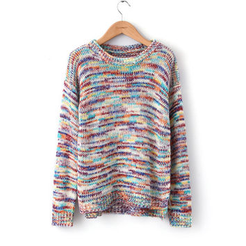 Women's Fashion Gradient Split Sweater [8422524481]