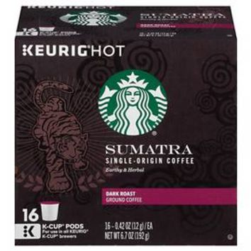 Keurig Starbucks Sumatra Dark Roast Coffee K-Cup pods 16ct