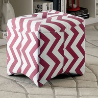 Zahra II collection Red zig zag chevron fabric upholstered cube ottoman foot stool