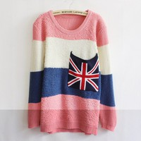 Pink Beige Striped Flag Large Pocket Sweater