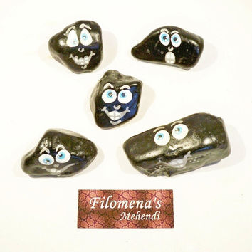 Hand painted stones, Happy face stone, Smiley face, Psychedelic happy, Emotions, Emoji, Mothers gift, Happy faces, Black stone