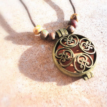 Essential Oil Diffuser Locket, Antique Bronze Aged Aromatherapy Healing Necklace, Boho Earthy Jewelry