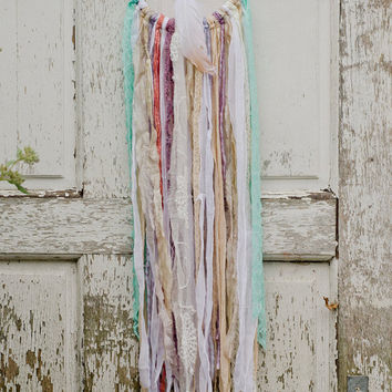Boho Dreamcatcher, Mint, Shabby Chic, Bohemian Wall Decor, Boho Chic, Gypsy, Lace, Pastel, White, Sari Silk, Wall Hanging, Wedding, Mobile