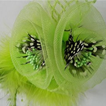 Fascinators Hair Clip Flower Feather Beaded Cocktail Bridal Headpieces Corsage (Light Green)