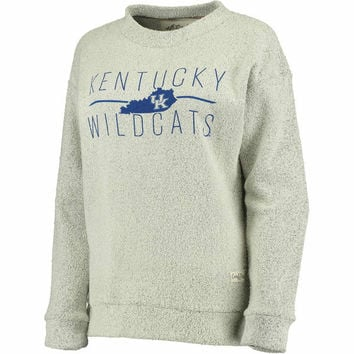 Women's Pressbox Cream Kentucky Wildcats Comfy Terry Crew Sweatshirt