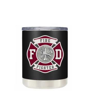 Red Fire Department Badge on Black Matte 10 oz Lowball Tumbler