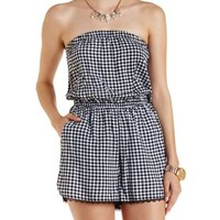 White Combo Lace-Trim Gingham Strapless Romper by Charlotte Russe