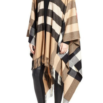 Mega Check Cashmere Cape