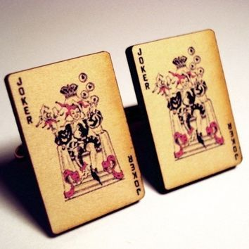 Joker vintage style playing cards on silver cufflinks in FREE gift box