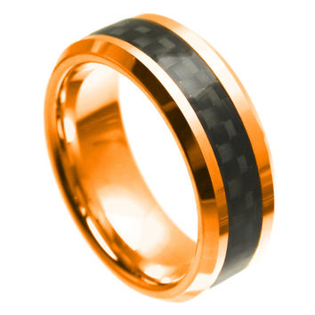 Tungsten Carbide Yellow Tone Stepped Edge Laser Engraved Wicca Celtic Ring 6MM