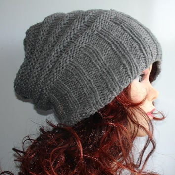 knit hat slouchy women / men - beanies style hat - Slouch Beanie Hat - Large knit hat - knit hat beanie  - chunky knit hat -  winter hat