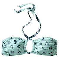 Junior's Bandeau Swim Top -Anchor Print