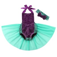 Little Mermaid Infant Toddler Baby Girl 2 pc. Halloween Birthday Pageant Costume Handmade High Quality 2 sizes 0 - 9 mo. / 10 - 18 mo.