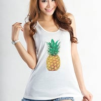 Pineapple Shirt Pineapple Print Tee Workout Tank Tops for Women Muscle Tank Funny Cute Tumblr Hipster Workout Clothes Instagram Cool Gifts