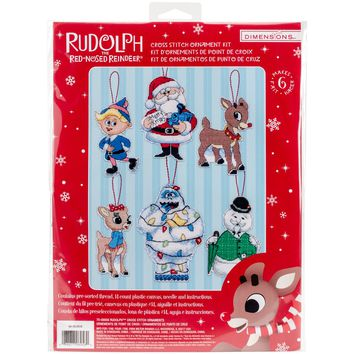 "Rudolph (14 Count) Dimensions Plastic Canvas Ornament Kit 5.25"" Tall Set of 6"